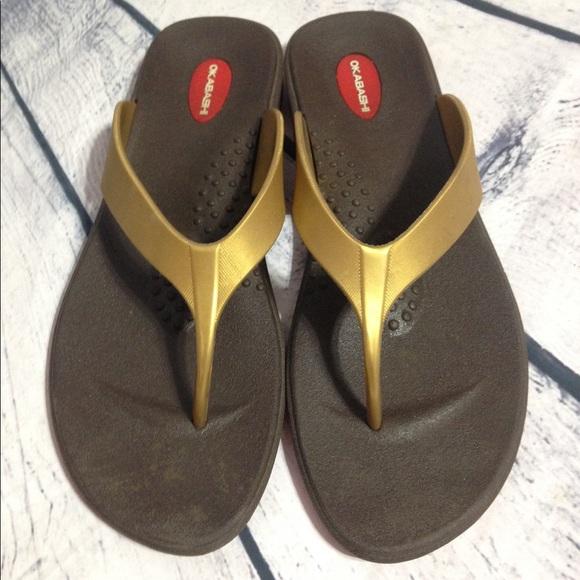 62050f17c8152d Okabashi Gold Thong Flip Flops L Sandals Unisex